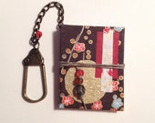 Gold and Red Flower Mini Book Keychain