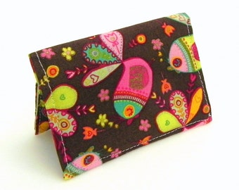 Business Card Holder - Birds and flowers in chocolate brown, orange, pink, yellow, and mint