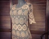 RESERVED Bohemian Crocheted Shirt / Hand dyed an Earthy Vintage Color / Gypsy Hippie Boho Style