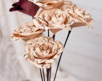 Half Dozen Parchment Paper Roses with Hand Written Message