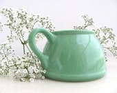 Mint  spring green   pitcher creamer planter  stoneware home garden decor   cottage chic - RoniDanYuval