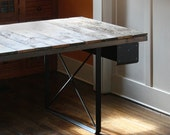 ON SALE - industrial rustic work desk - table from reclaimed wood with recycled-content steel legs and steel drawers - birdloft