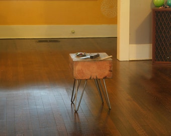 side table - from reclaimed old growth wood and hairpin legs - industrial modern deep forest raw beauty