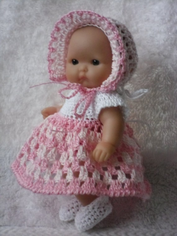 Crochet Baby Dress And Bonnet Pattern : Crochet pattern for Berenguer 5 inch baby doll by petitedolls