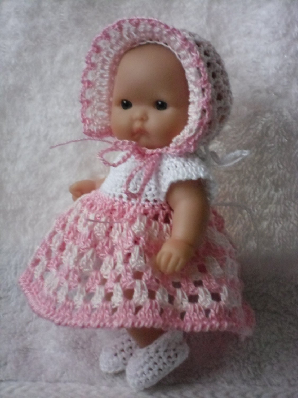 Crochet pattern for Berenguer 5 inch baby doll dress