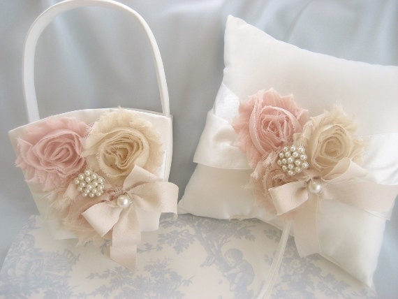 blush pink wedding pillow basket set