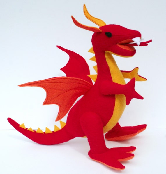 Fantastical Stuffed Fire Dragon,  Red Plush Dragon, Handcrafted from Eco Fi Felt, Magical, Mythical Stuffed Animal Toy