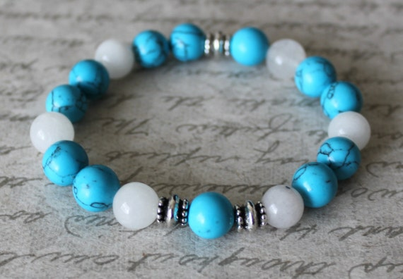 10mm Turquoise Blue howlite beads and Snow quartz Bracelet,  Antique silver metal spacers, Adjustable Length