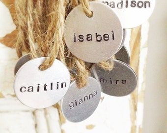 Name charms, tags, labels, hand stamped party favors, gift tags