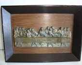Religious Plaque, Jesus Christ, The Last Supper Brass Picture, Wood Shadow Box, Spiritual Picture