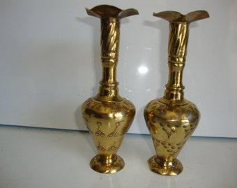 Brass Vases,  Bud Vases Pair, Etched Bud Vase, Brass Bud Vases, Flower Vase