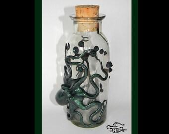 Octopus Art, The Emerald Deep Sea Fire Kraken, Kraken Flask, Octopus Sculpture by Elstwhen.
