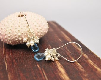 Dainty Sky Blue Topaz Cluster Earrings/Lillyput Lane Design Company Cluster Earring Collection