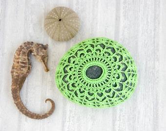 fiber art object, crochet stone, crochet rock, chartreuse sea urchin, cottage chic, Wedding decor, home decor, mothers day