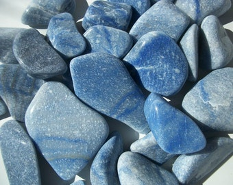 """BLUE QUARTZ TUMBLED Stone - Soothing Cool Calm Peace Rock Reiki 2""""-4"""" 32-142grms Mineral Specimen Blue Crystal Heal Throat Chakra Feng Shui"""