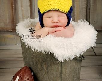Baby Michigan Wolverines Helmet Hat Size 0-6 MO