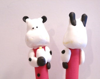 New Cute Polymer Fimo Clay Cow with Milk Bottle Red Pen