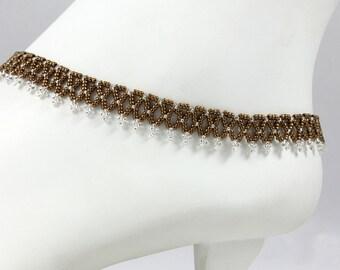 Beaded Anklet - Dark Gold Anklet - Ankle Bracelet - Victorian Lace Anklet - Beadwork Jewelry - Seed Bead Anklet - Handmade Anklet