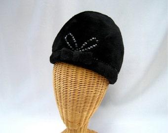 Vintage Ladies Hat Black Fur Felt Bubble Sequins Bow Gwenn Pennington