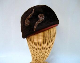 Vintage Ladies Hat Beaded Fur Felt Toque Chocolate Brown