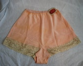 1940s Peach Rayon Panties, 28 Waist, Medium, Luxite by Holeproof, New With Tag