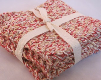 A Set of Two 100% Cotton Handknit Washcloths/Dishcloths Ready to Gift