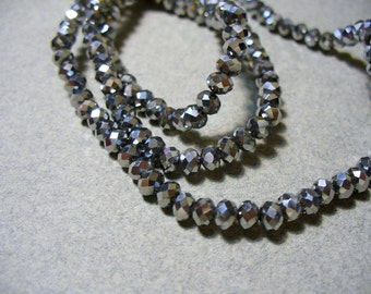 Crystal Beads Silver Plated Faceted  Rondelles 4x3MM