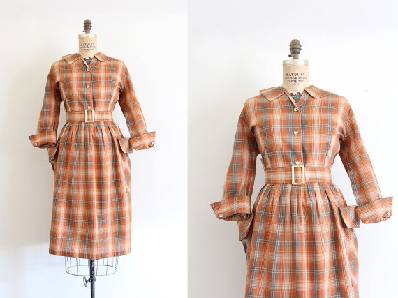 vintage 1950s dress // 50s orange plaid day dress // a day in the park