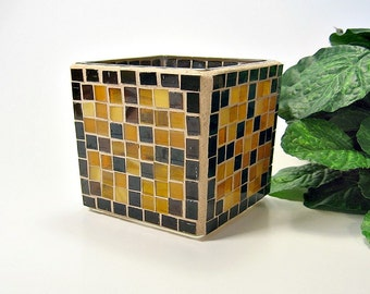 Stained glass mosaic votive candle holder brown and amber