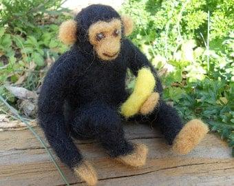 Needle Felt Chimpanzee Waldorf Toy / Wool Circus Sculpture / Jungle Zoo Wild Animal Ape Figurine / Miniature Monkey