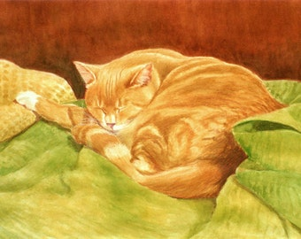 Orange Tabby Art, Tabby Print, Orange Tabby Sleeping Print, Orange Tabby Watercolor Print, Cat Art, Tabby Cat Art by P. Tarlow