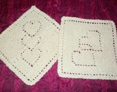 Knitted Dishcloths Handmade Washcloths Heart Design Valentine