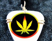 Guitar pick necklace - Rasta colored marijuana leaf - guitar pick jewelry