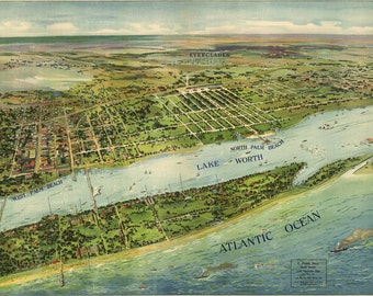 Vintage Map - West Palm  Beach, Florida 1915