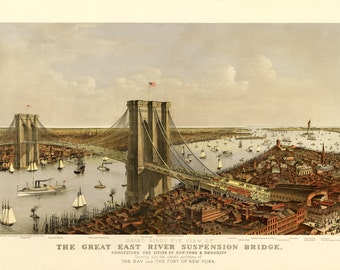 Vintage Map - New York - Brooklyn Bridge 1885