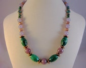 Purple lepidolite, chrysocolla and copper necklace