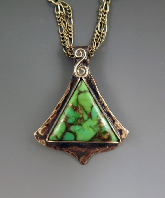 Reserved for Aileen-Mohave Green Turquoise- Smokey Bronze Patina- Metal Art Pendant Necklace