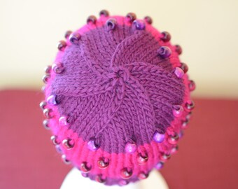 Pink and Purple Beaded Hat