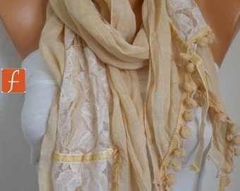 Pale Yellow Cotton Lace Scarf Spring Shawl Cowl Scarf Gift Ideas for Her Bridesmaid Gift Women Fashion Accessories Women scarves