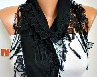 Black Heart Pashmina Scarf Summer Scarf,Bridal Accessories,Teacher Gift, Cowl Bridesmaid Gift LOVE Gift Ideas  Women Fashion Accessories