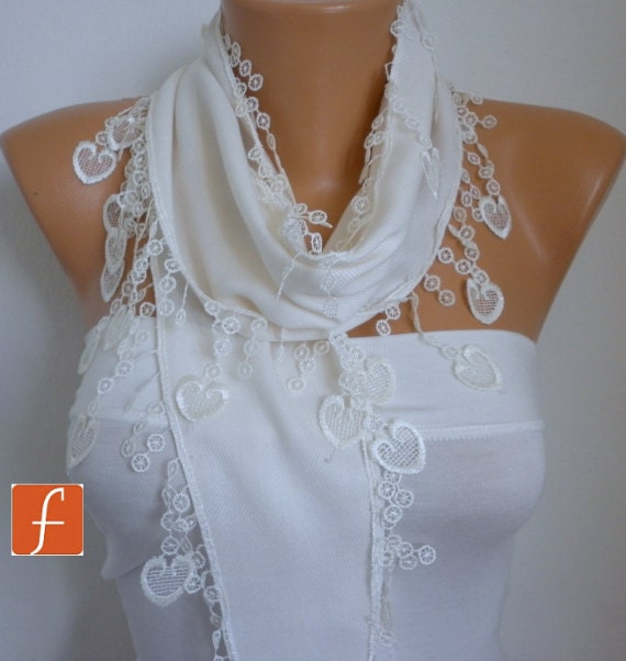 ON SALE White Heart Scarf Spring Scarf Pashmina by fatwoman Fashion Scarf Mother's Love