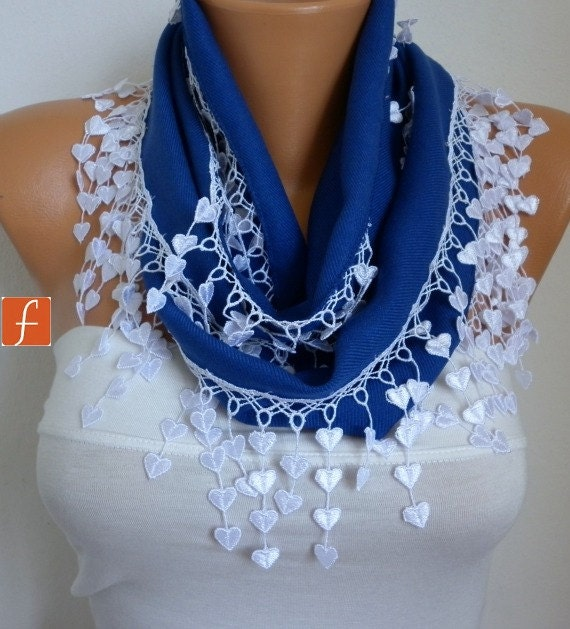 Navy  Blue Scarf  -Pashmina  Scarf  - Cowl with Lace Edge - fatwoman