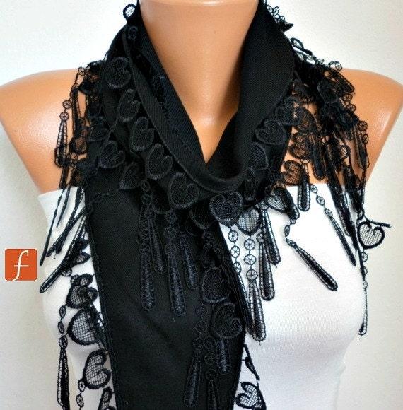 Black Heart Pashmina Scarf,Valentine's Gift,Bridal Accessories,Teacher Gift, Cowl Bridesmaid Gift LOVE Gift Ideas  Women Fashion Accessories