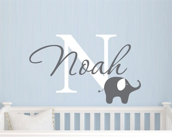 Childrens Name Elephant Wall Decal - Boys Name Vinyl Wall Decal - Baby Nursery Wall Decal