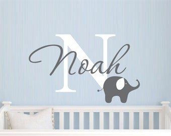 Childrens Name Elephant Wall Decal   Boys Name Vinyl Wall Decal   Baby  Nursery Wall Decal Part 53
