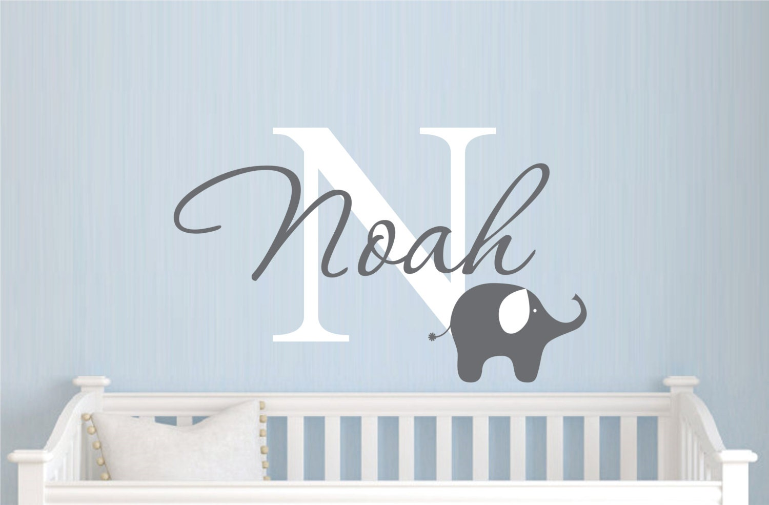 Baby boy room decor stickers - Childrens Name Elephant Wall Decal Boys Name Vinyl Wall Decal Baby Nursery Wall Decal