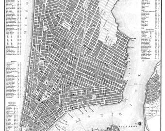 New York City Map 1844 New York City Manhattan Street Map Poster Print