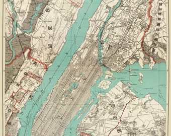 New York City Map 1890 Map of New York Newark Brooklyn Vintage Print Poster