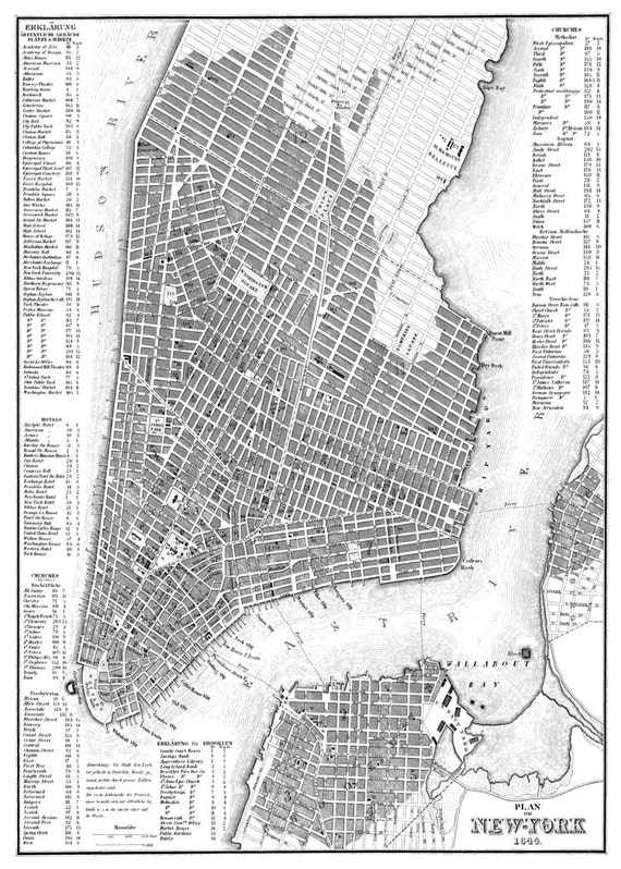 New York City Map 1844 New York City Manhattan Street Map – Street Maps of New York City
