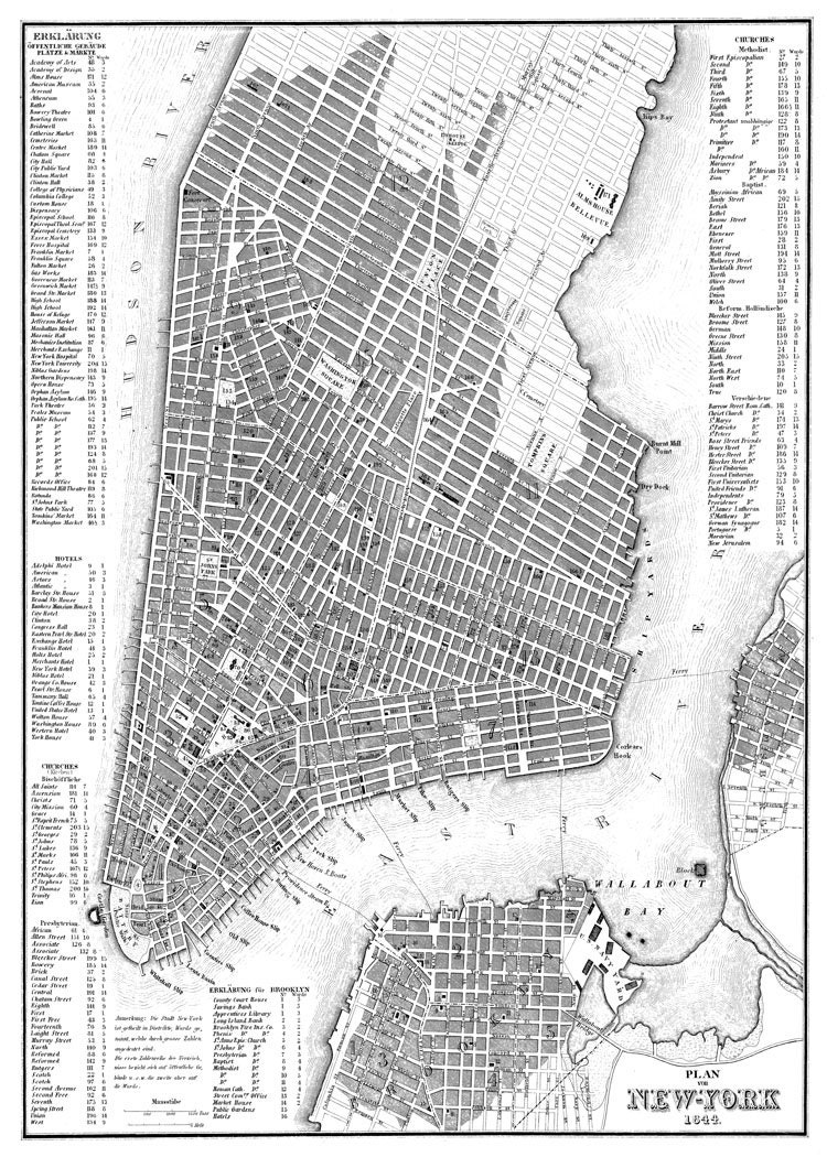 New York City Map 1844 New York City Manhattan Street Map – Street Map Nyc